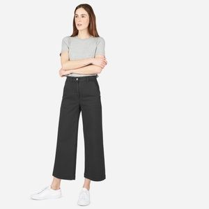 Women's EVERLANE Wide Leg Crop Pant Black sz 6